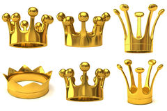 Set of golden crowns Stock Photo