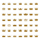 Set of golden  crowns and icons Royalty Free Stock Image