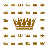 Set of golden  crowns and icons Stock Photo