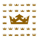 Set of golden  crowns and icons Royalty Free Stock Photography