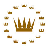 Set of golden crowns. Vector Icons. Stock Photography