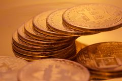 Cryptocurrencies Bitcoin golden Royalty Free Stock Photos