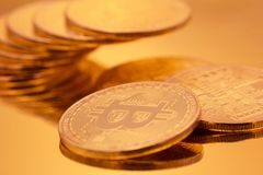 Cryptocurrencies Bitcoin golden royalty free stock image