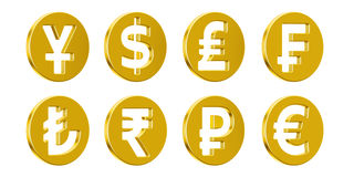 Set of golden currency symbols, 3D rendering. On white background Royalty Free Illustration