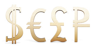 Set of Golden currency symbols. Dollar, Euro, Pound sterling and Royalty Free Stock Photography