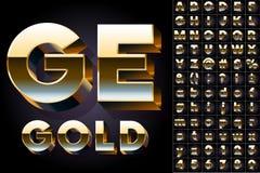 Set of golden 3D alphabet. Vector illustration of golden 3D alphabet. Bold style. Set Royalty Free Stock Image