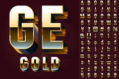Set of golden 3D alphabet. Vector illustration of golden 3D alphabet. Condensed style Stock Photo