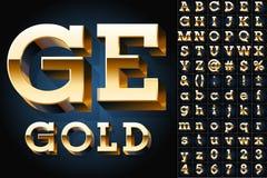 Set of golden 3D alphabet. Vector illustration of golden 3D alphabet. Slab style Royalty Free Stock Photography