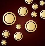Set of golden 3d buttons. Illustration of Set of golden 3d buttons Royalty Free Stock Images