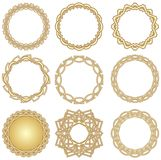 A set of golden decorative circle frames in art deco style Stock Photos