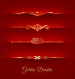 Set of golden decorative dividers Stock Images