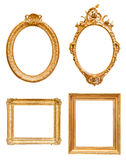 Set of golden decorative picture frames. Isolated on white background with clipping path Stock Photo