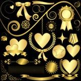 Set golden design elements Stock Images