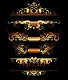 Set of golden design elements Stock Images