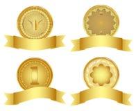 Set of golden design elements. Royalty Free Stock Photo