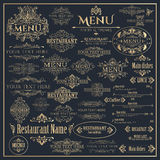 Set of golden design elements for Restaurant Menu Royalty Free Stock Photography