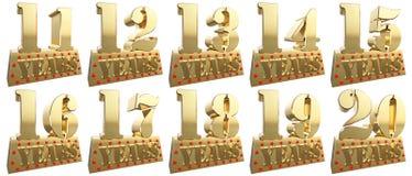 Set of golden digits on a gold ingot for the anniversary. 3d illustration royalty free illustration