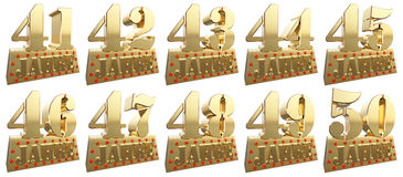 Set of golden digits on a gold ingot for the anniversary Royalty Free Stock Photos