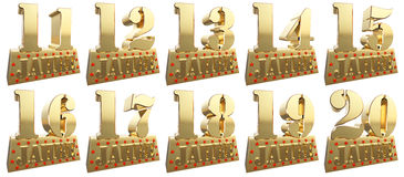 Set of golden digits on a gold ingot for the anniversary. Translation from German - Years. 3d illustration royalty free illustration