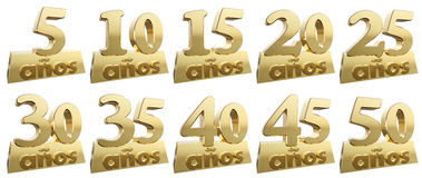 Set of golden digits on a gold ingot for the anniversary. Translation from Spanish - Years. 3d illustration Royalty Free Stock Photography