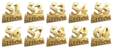 Set of golden digits on a gold ingot for the anniversary Stock Photography