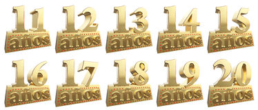 Set of golden digits on a gold ingot for the anniversary. Translation from Spanish - Years. 3d illustration vector illustration