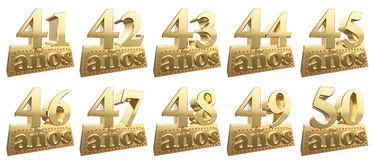 Set of golden digits on a gold ingot for the anniversary Royalty Free Stock Images