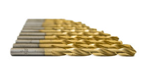 Set of golden drill bits Royalty Free Stock Photography