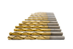 Set of golden drill bits Royalty Free Stock Image