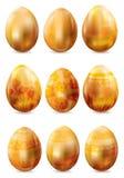 Set of golden easter eggs Stock Photo