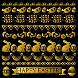 Set of golden Easter Lace Paper with flower, rabbits and eggs. Easter repeatable holidays design. Can be used for fabric,. Set of golden Easter Lace Paper with stock illustration