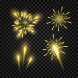 Set of  golden festive fireworks. Vector illustration on dark checked background Royalty Free Stock Photos
