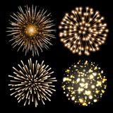 Set of golden fireworks. Set of festive patterned salute bursting in various shapes against black background. Bright decoration Christmas card,New Year Royalty Free Stock Images