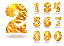 Set of golden foil numbers Stock Photos