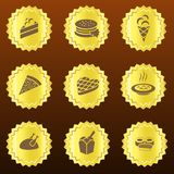 Set of golden food-related badges or medals vector illustration