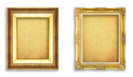 Set golden frame with empty grunge paper for your picture, photo. Image. beautiful vintage background stock photography