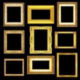 Set golden frame isolated on black background Royalty Free Stock Photos