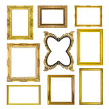 Set golden frame isolated on white background Royalty Free Stock Photos