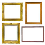 Set of golden frame vintage antique isolated on white background Royalty Free Stock Image