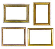 Set of golden frame vintage isolated on white background. Stock Photo