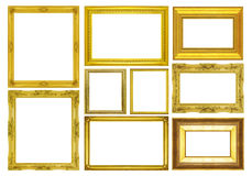 Set golden frame on white background Stock Photography