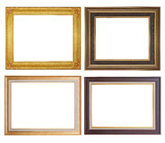 Set of golden frame and wood vintage isolated on white backgroun Stock Photography