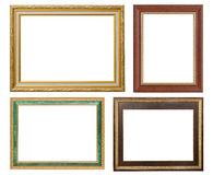 Set of golden frame and wood vintage isolated on white backgroun Royalty Free Stock Images