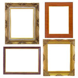 Set of golden frame and wood vintage isolated on white background Stock Photos
