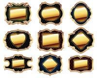 Set of golden frames Stock Photo