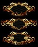 Set of golden frames Stock Photography