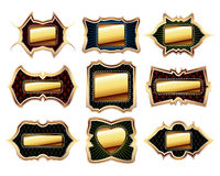 Set of golden frames Stock Photo