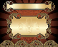Set of golden frames Royalty Free Stock Image