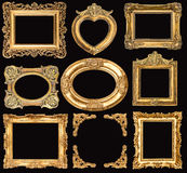 Set of golden frames. baroque style antique objects Royalty Free Stock Photo