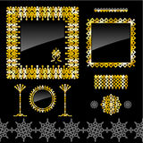 Set of golden frames and design elements Stock Photos